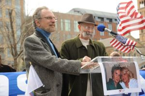 "Sabatino (left) and Voorheis speak at United for Marriage ""Light the Way to Justice"" in New York, March 23, 2013"